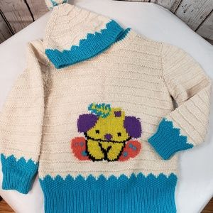 Other - Easter bunny unisex knit sweater w/ matching hat